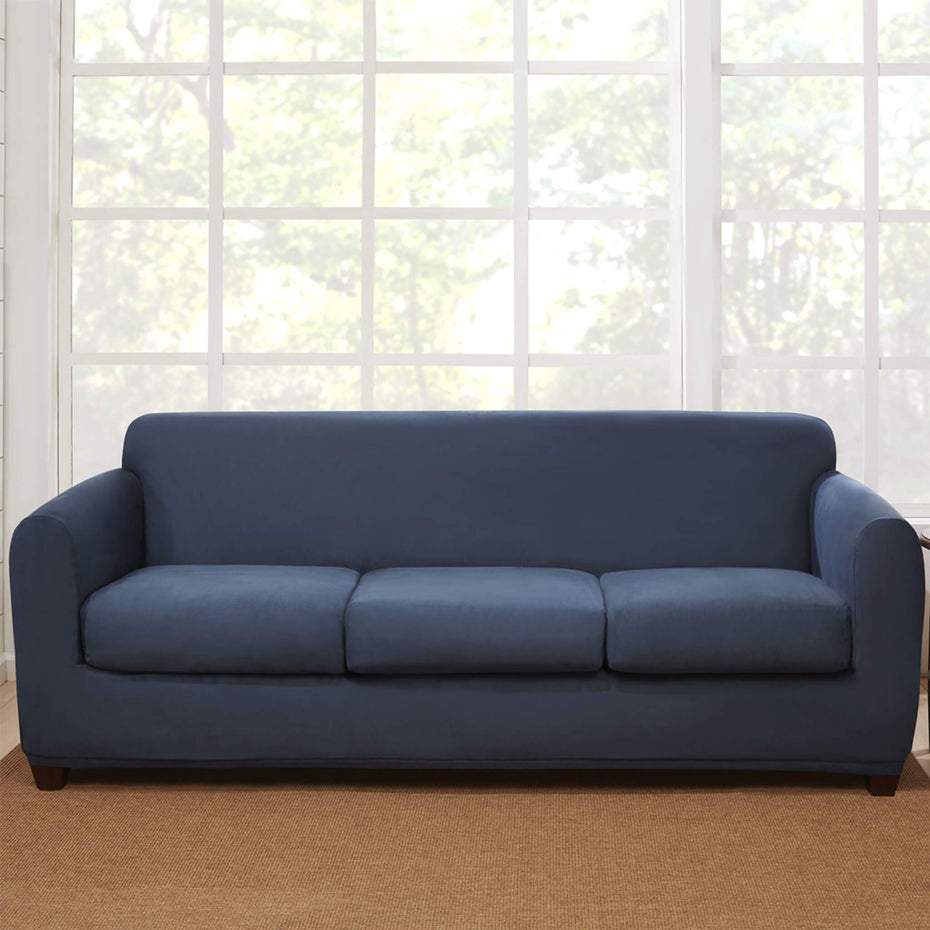 Stretch Suede Four Piece Sofa Slipcover | Form Fit | Box Cushion | Machine Washable