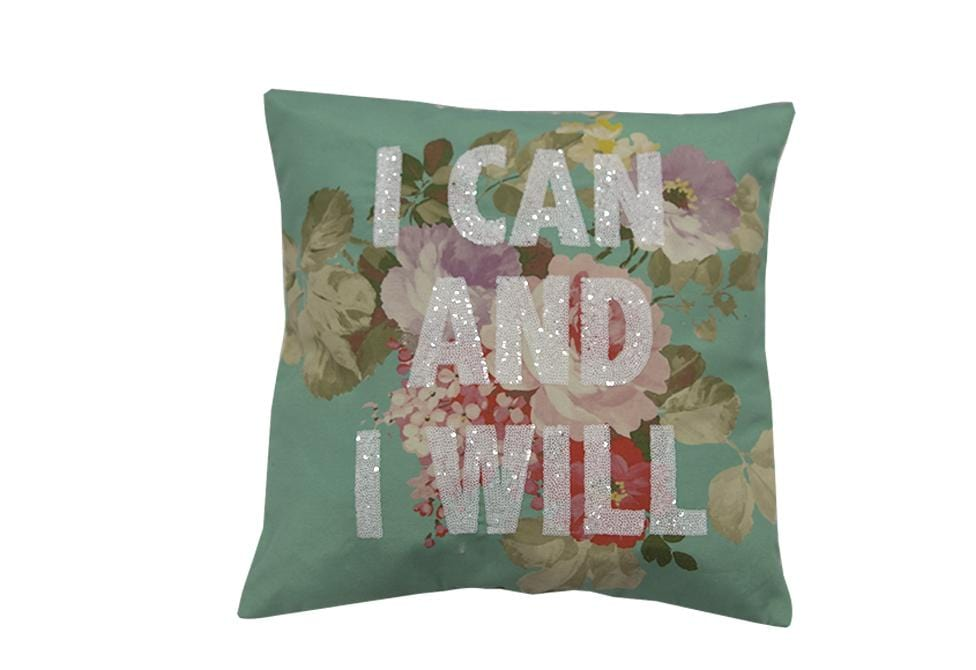 I Can and I Will Beaded Floral   18 inch square Decorative Pillow