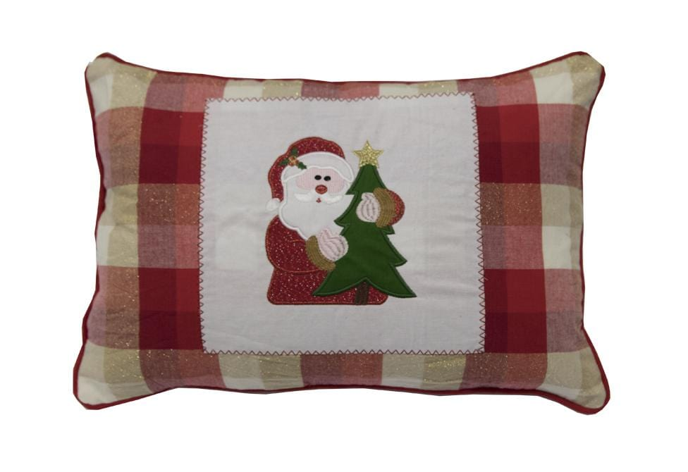 Check Santa 14 Inch X 20 Inch Decorative Pillow