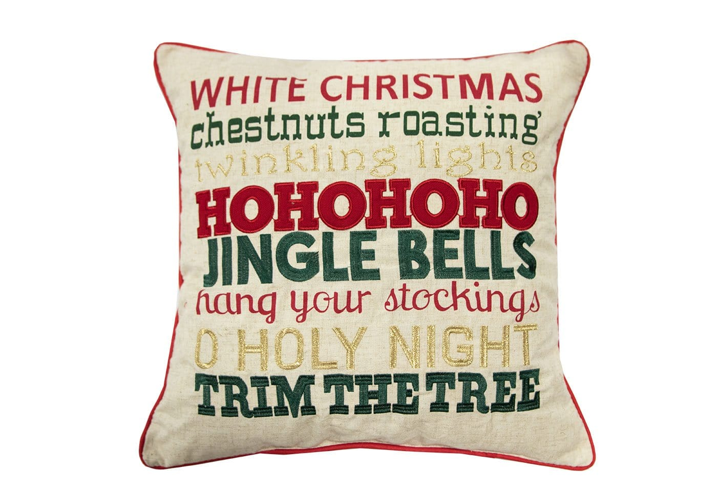 Christmas Words 18x18 Decorative Pillow