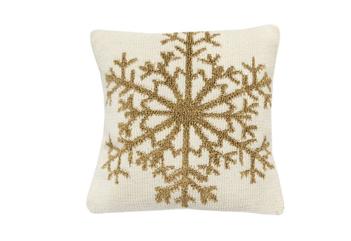Golden Snowflake 18x18 Decorative Pillow
