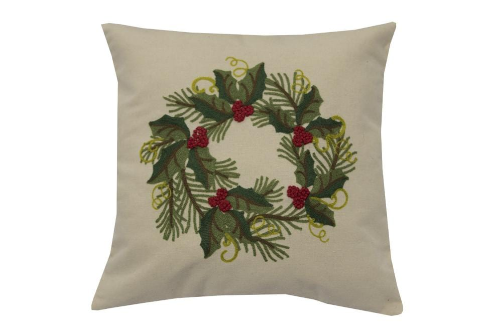 Holly Pine Wreath 20 Inch Square Decorative Pillow