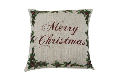 Holly Script Merry Christmas 20 Inch Square Decorative Pillow