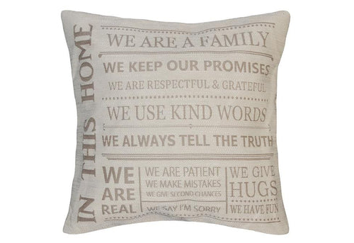 In This Home 18 Inch Square Decorative Pillow