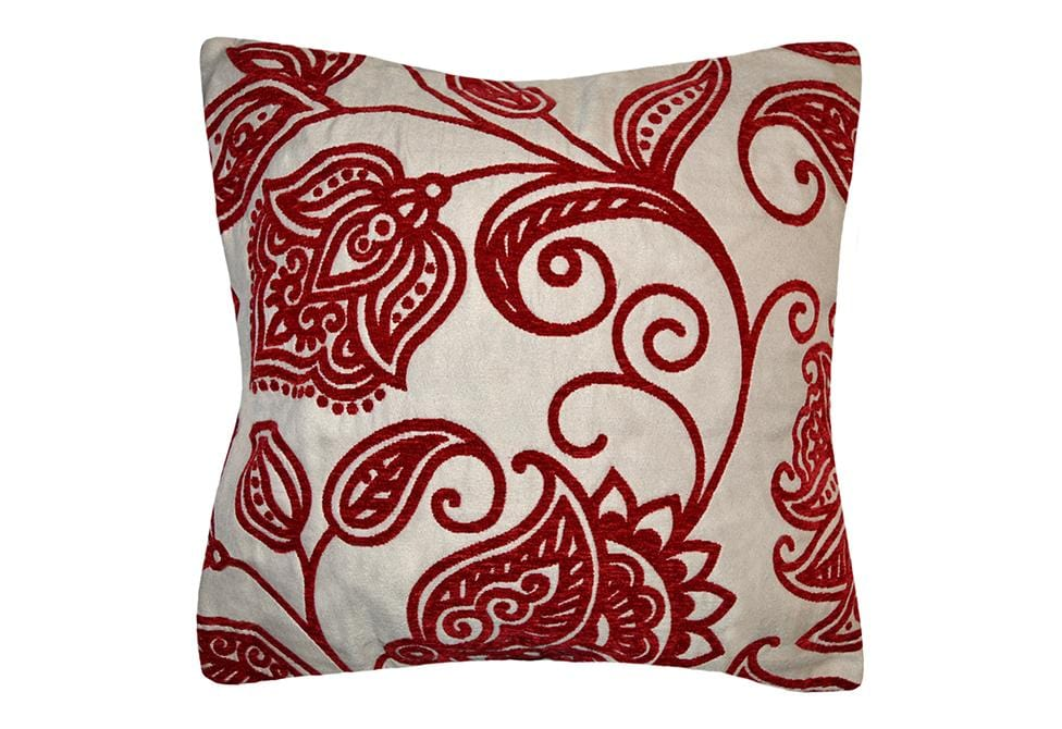 Jacobean Scroll 40 Inch Square Decorative Pillow SureFit Classy Maroon Decorative Pillows