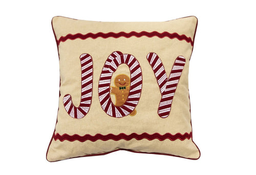 Joy Candycane 18x18 Decorative Pillow
