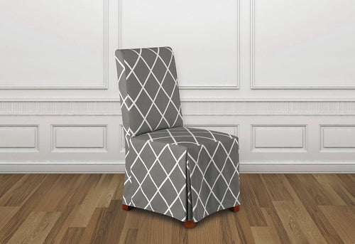 Lattice Long Dining Chair Slipcover