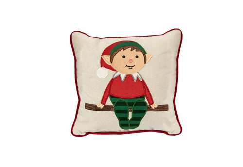 Mini Elf on a Shelf 11x11 Decorative Pillow