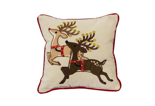 Mini Prancing Reindeer 11x11 Decorative Pillow