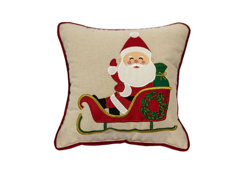 Mini Santa Sleigh 11x11 Decorative Pillow