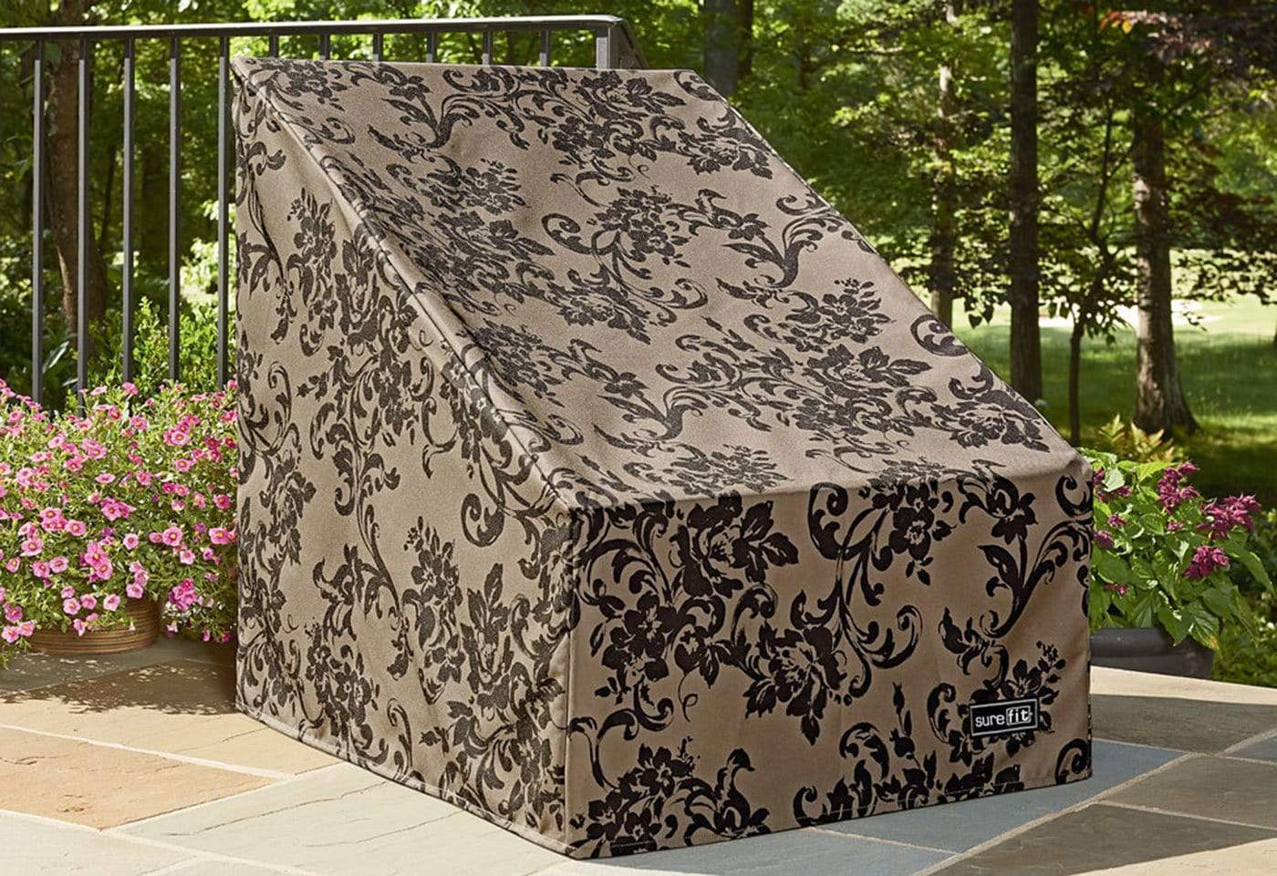 Patio Armor Highback Patio Chair Outdoor Furniture Cover - Damask Taupe/Gray
