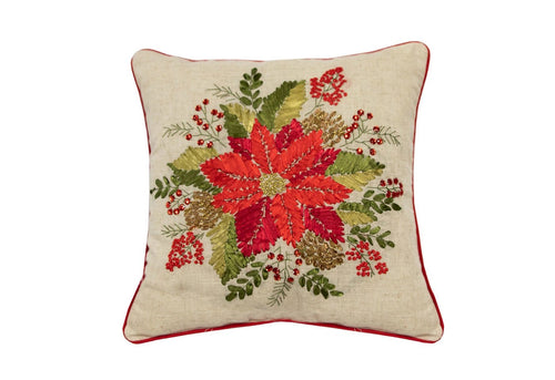 Poinsettia Floral 18x18 Decorative Pillow