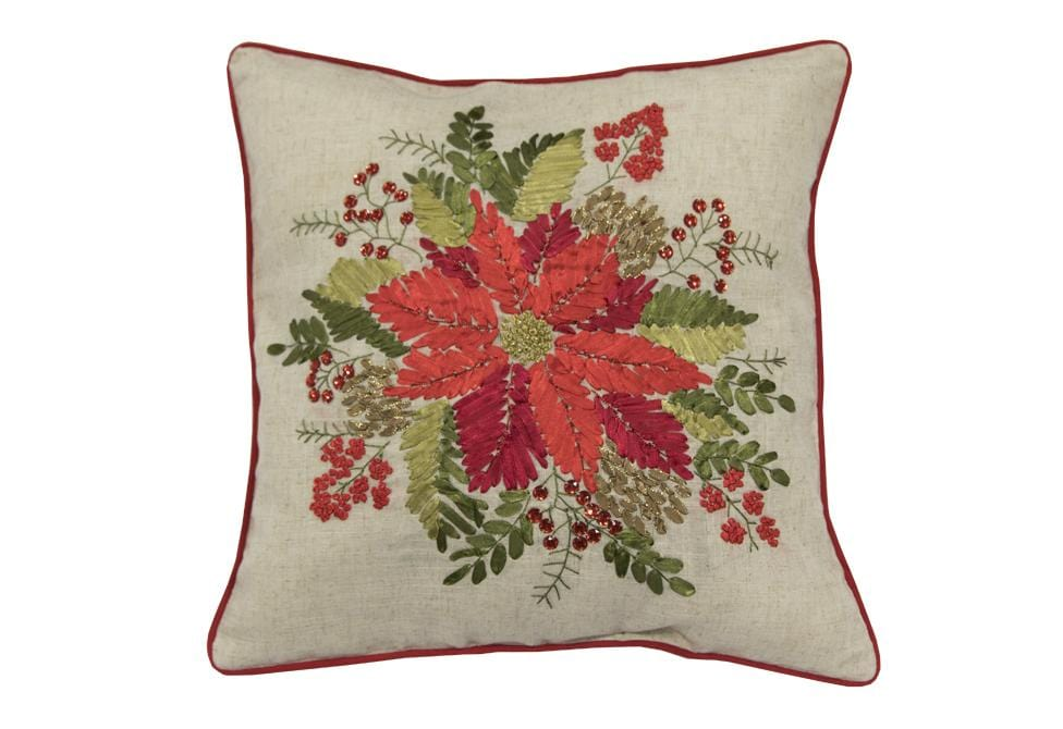 Poinsettia Floral 18 Inch Square Decorative Pillow