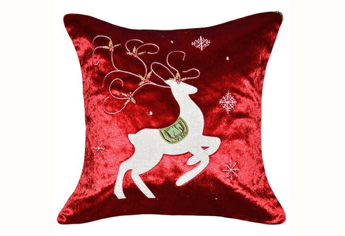 Prancing Reindeer 20 Inch Square Decorative Pillow