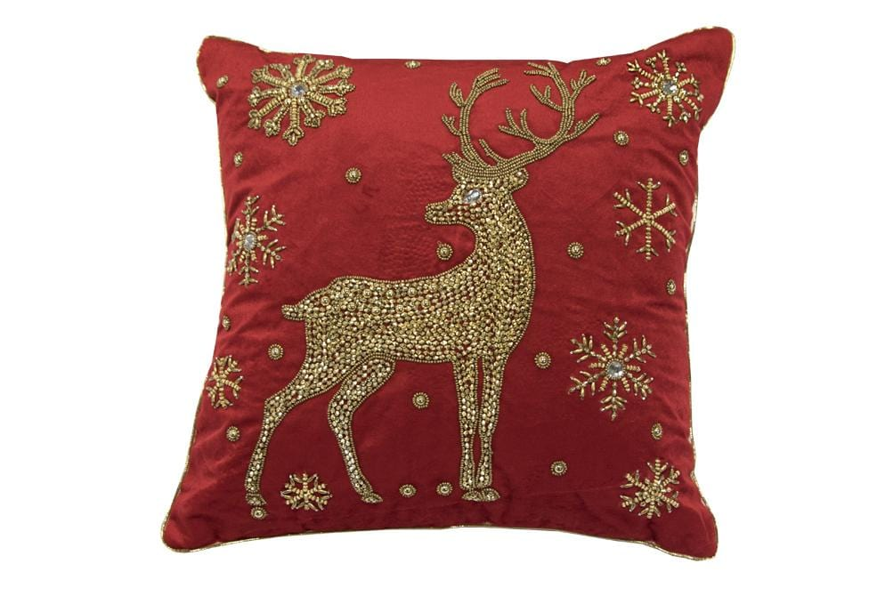 Reindeer Glow 18 Inch Square Decorative Pillow