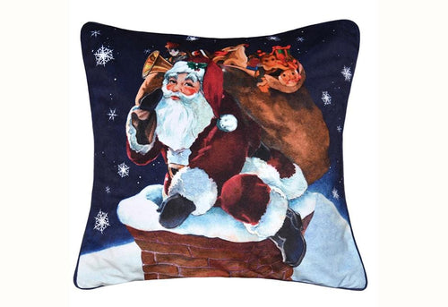 Rooftop Santa 20 Inch Square Decorative Pillow