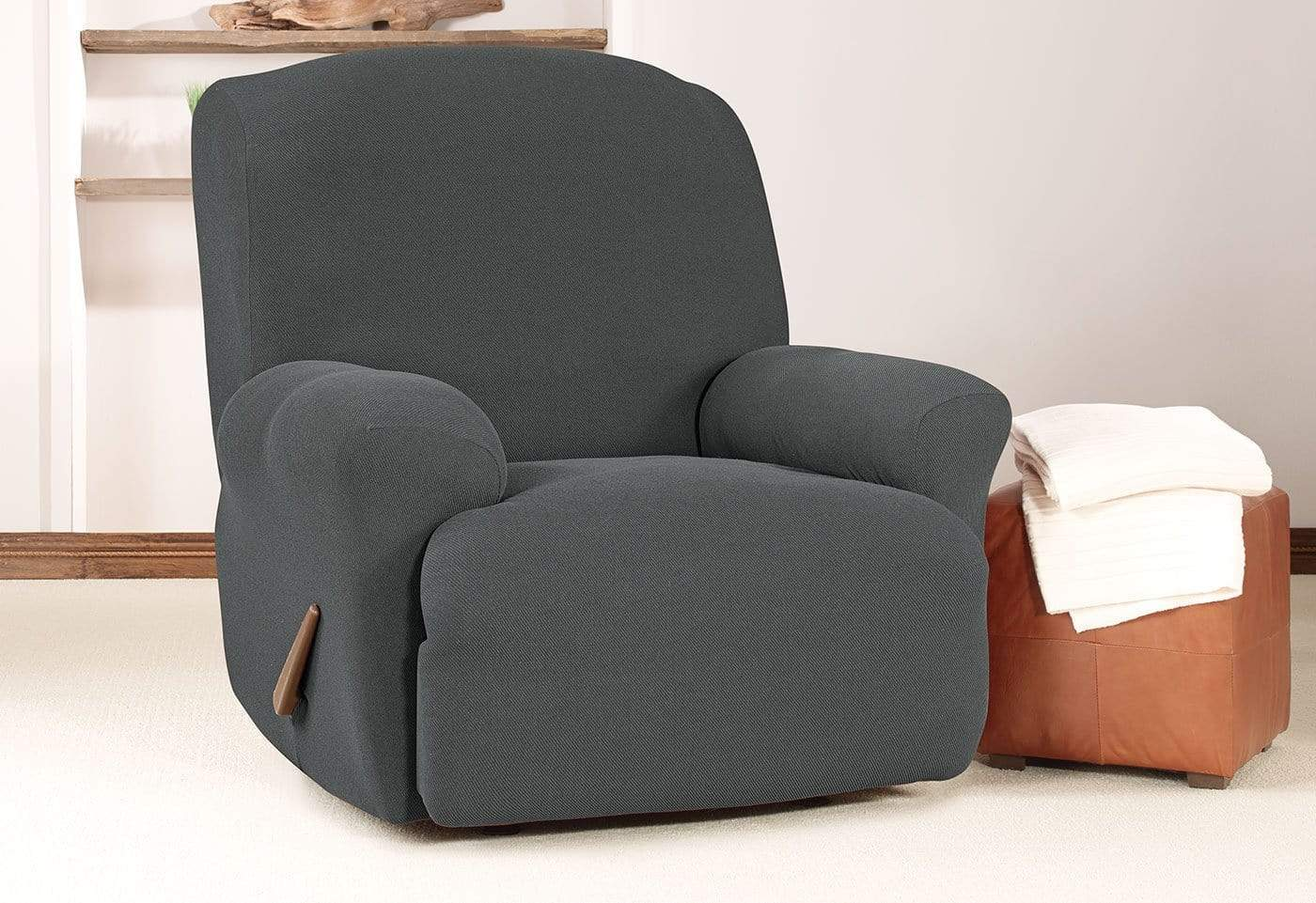 Simple Stretch Twill One Piece Recliner Slipcover Form Fit Machine Washable - Recliner / Carbon