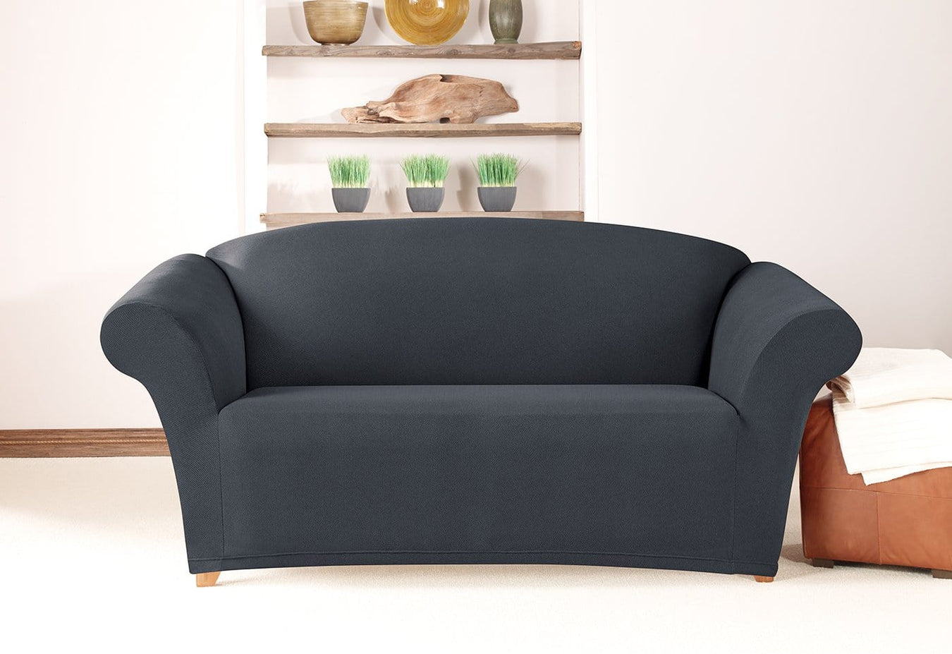 Simple Stretch Twill One Piece Loveseat Slipcover ...
