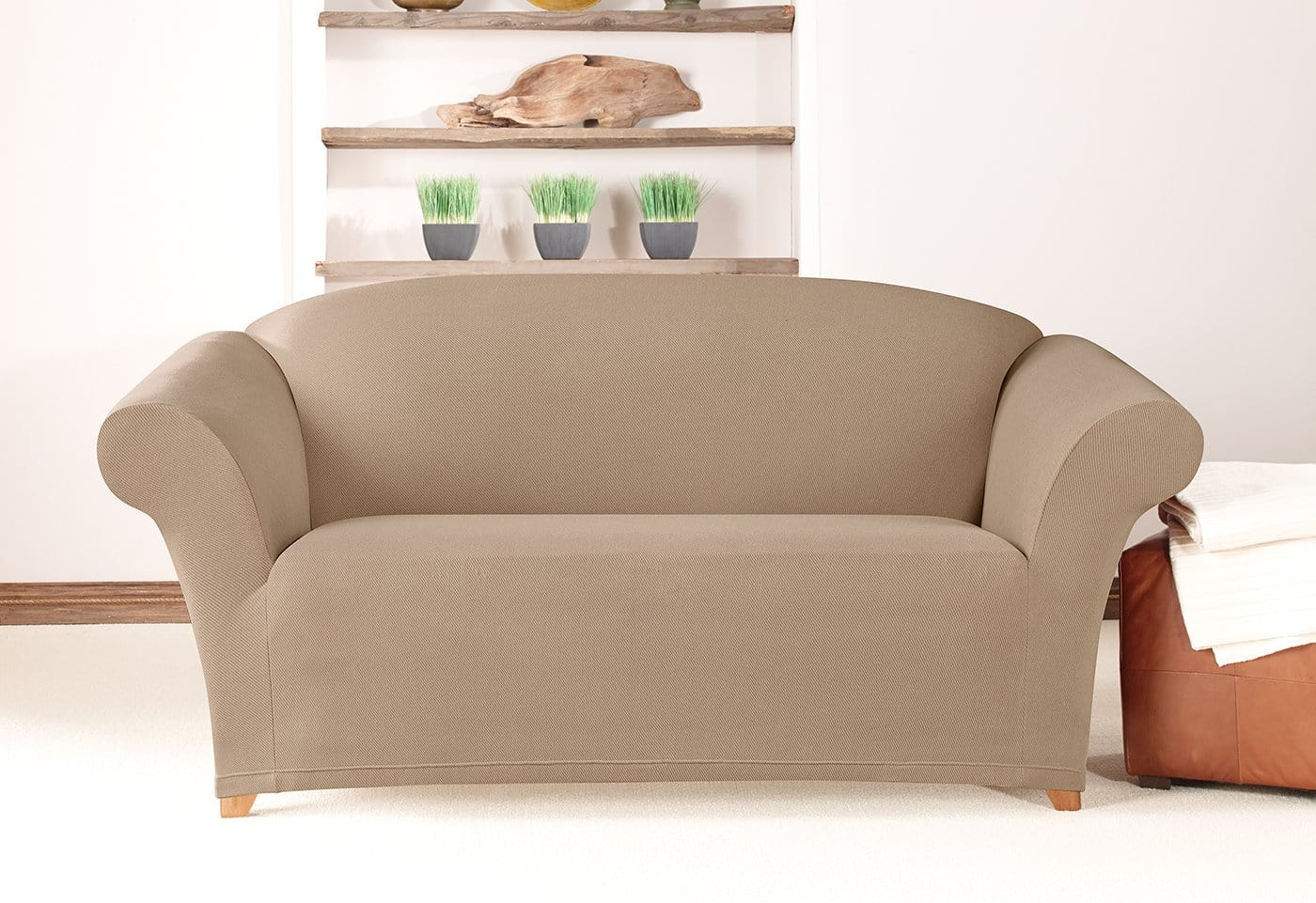 Simple Stretch Twill One Piece Loveseat Slipcover Surefit