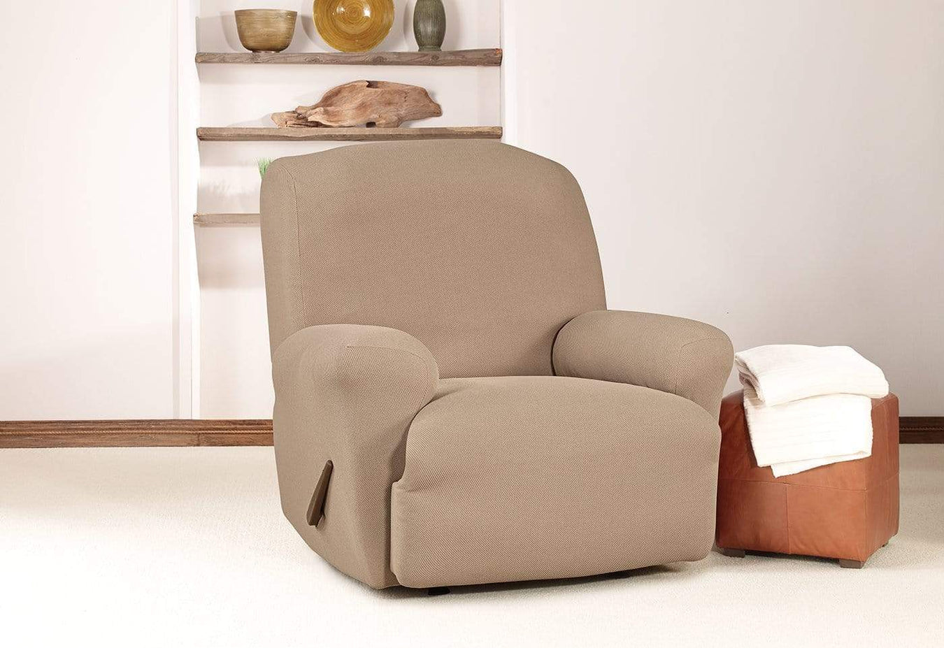Simple Stretch Twill One Piece Recliner Slipcover