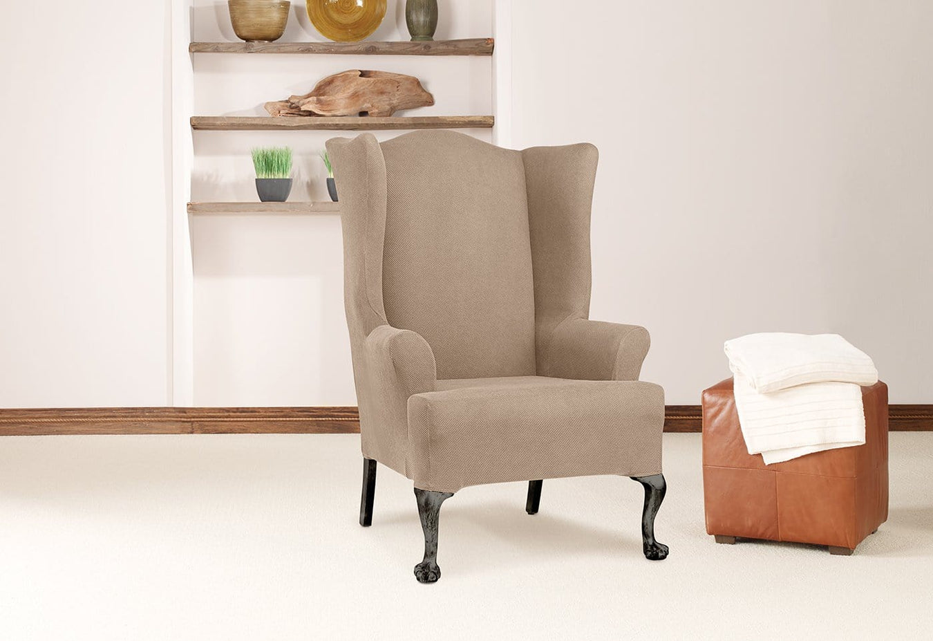 Simple Stretch Twill One Piece Wing Chair Slipcover
