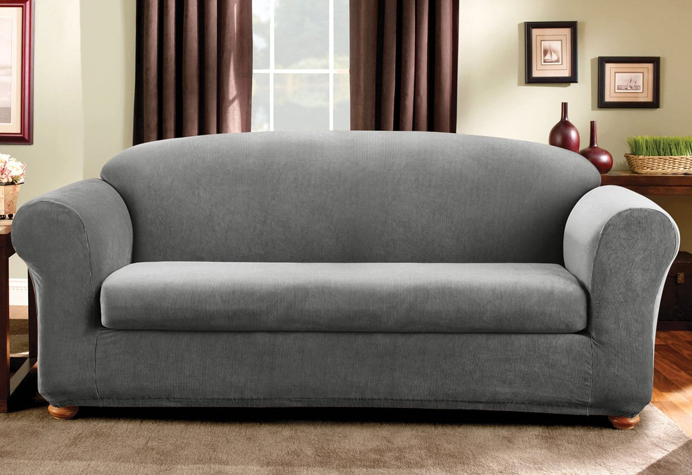 Stretch Madison Stripe Two Piece Sofa Slipcover | SureFit