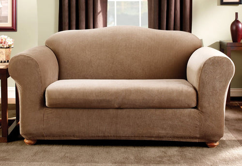 Stretch Madison Stripe Two Piece Loveseat Slipcover