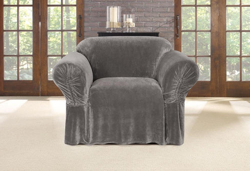Stretch Plush Cinched Arm One Piece Chair Slipcover