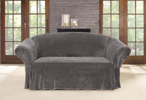 Stretch Plush Cinched Arm One Piece Loveseat Slipcover