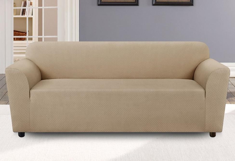 Stretch Retro Triangle One Piece Sofa Slipcover Tan