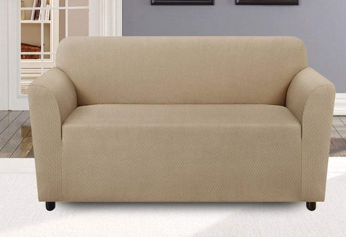 Stretch Modern Chevron One Piece Loveseat Slipcover Khaki