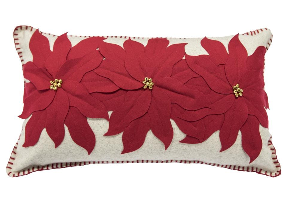 Tres Poinsettias 14 Inch X 24 Inch Decorative Pillow