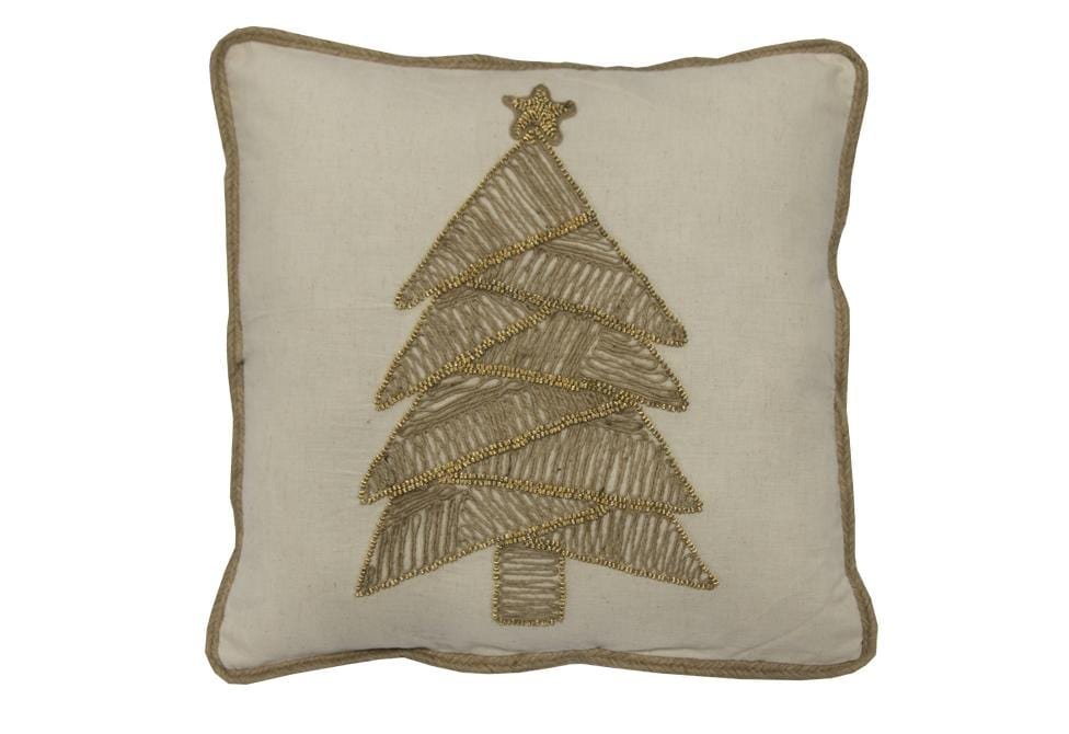 Trimming Natural Tree 18 Inch Square Decorative Pillow