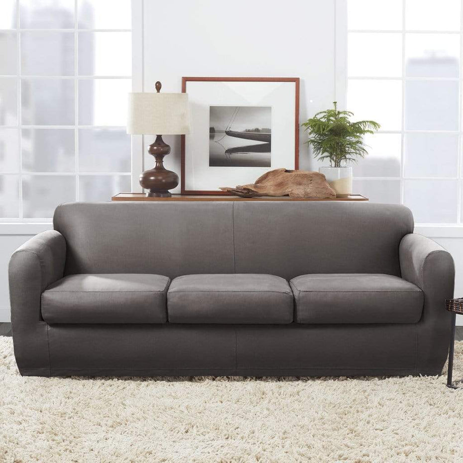 Charmant Ultimate Stretch Leather Four Piece Sofa Slipcover | Form ...