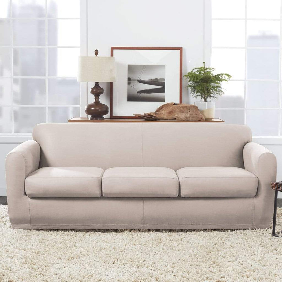 Admirable Ultimate Stretch Leather Four Piece Sofa Slipcover Surefit Dailytribune Chair Design For Home Dailytribuneorg