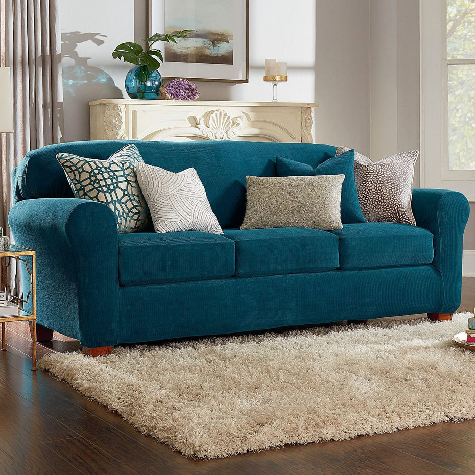 New Slipcover Stretch Sofa Cover Sofa With Loveseat Chair: Ultimate Stretch Chenille Four Piece Sofa Slipcover