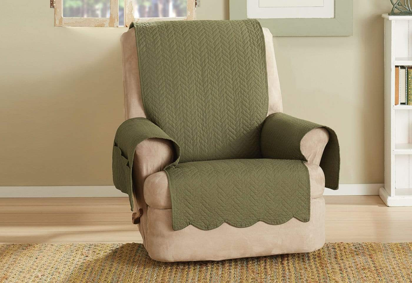 Vintage Washed Chevron Recliner Furniture Cover Cotton Pet Furniture Cover Machine Washable - Recliner / Olive