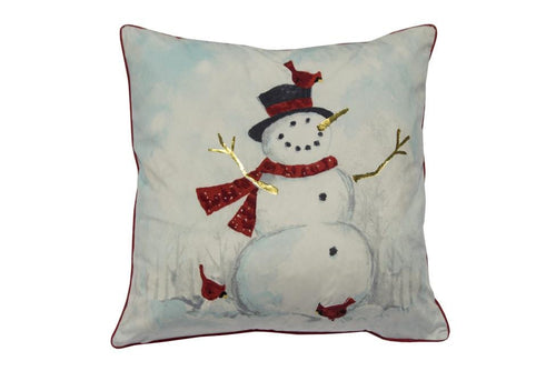 Wonderful Snowman 20 Inch Square Decorative Pillow