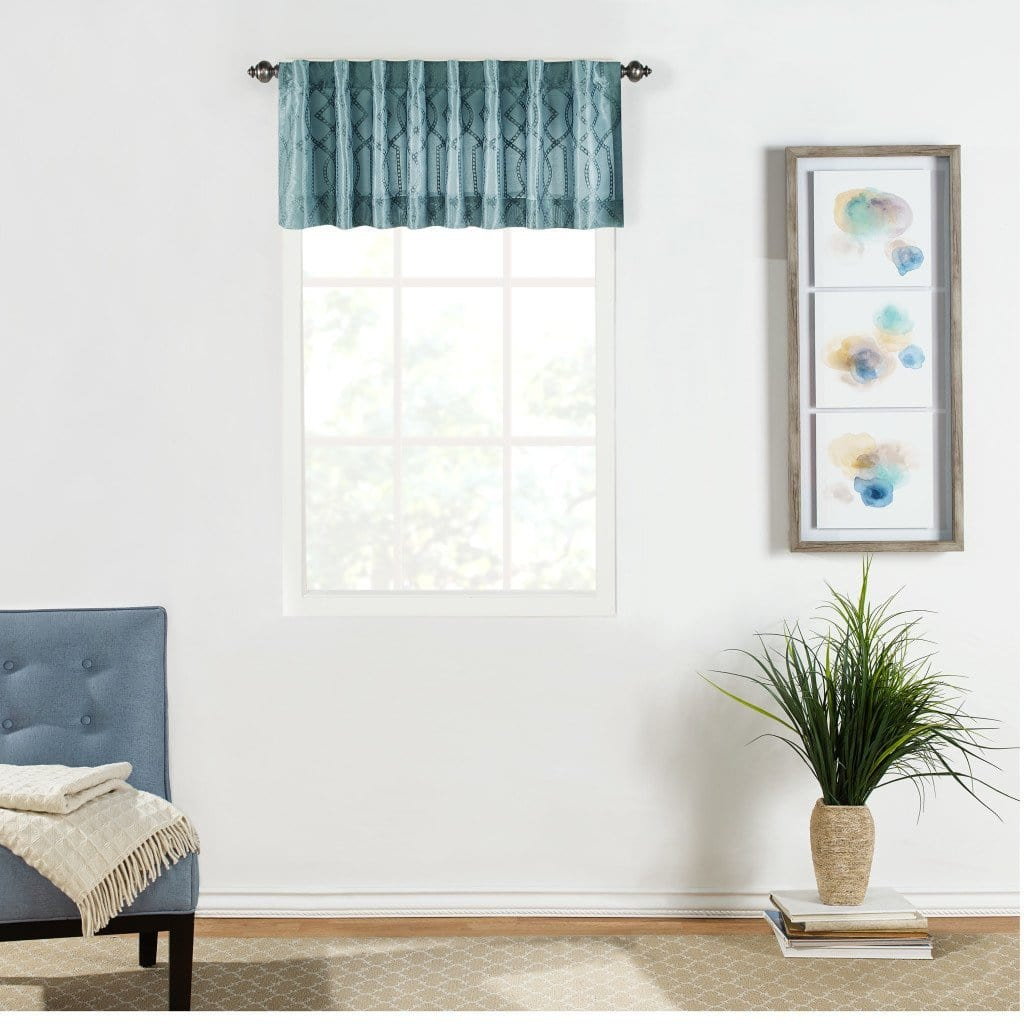 Adalina Embroidered Window Valance - 54 x 16 / Blue