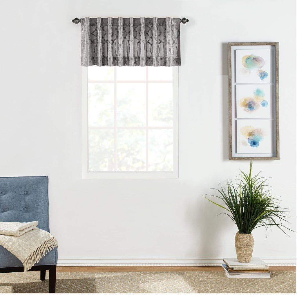 Adalina Embroidered Window Valance - 54 x 16 / Grey