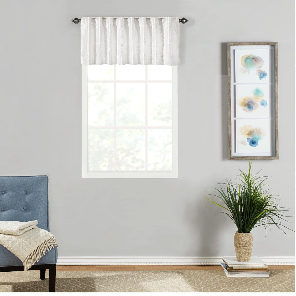 Adalina Embroidered Window Valance - 54 x 16 / White