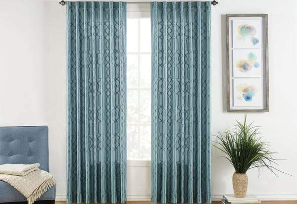 Adalina Embroidered Drapery Panel Pair - 54 x 108 / Blue