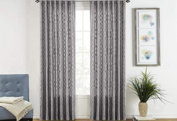 Adalina Embroidered Drapery Panel Pair - 54 x 108 / Gray