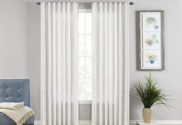 Adalina Embroidered Drapery Panel Pair - 54 x 108 / White