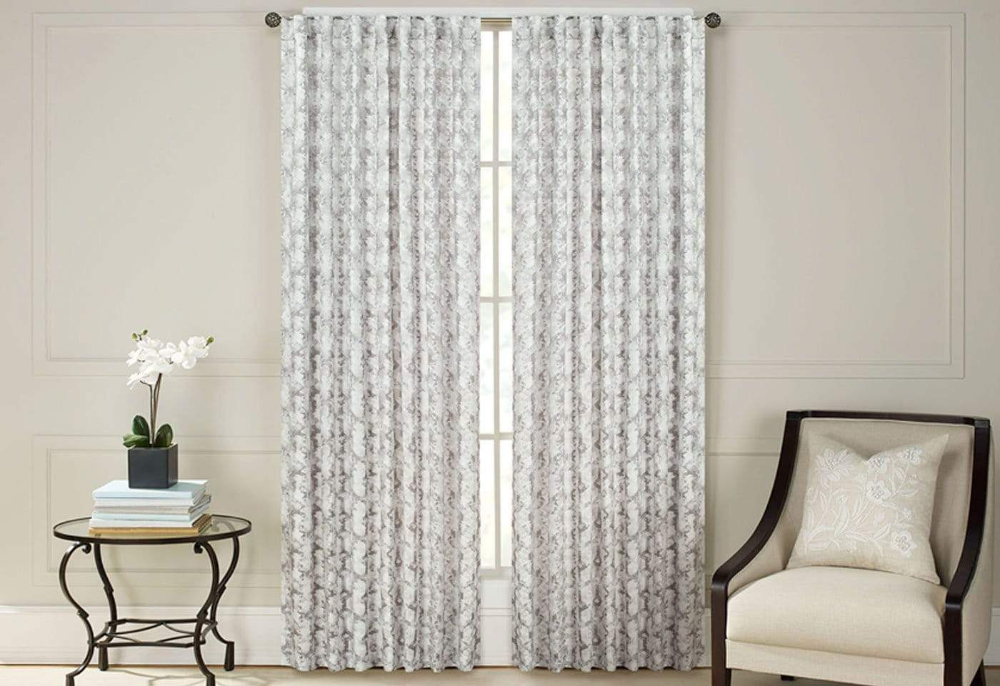 Addiction Jacquard Print Room Darkening Drapery Panel Pair - 54 x 108 / Gray