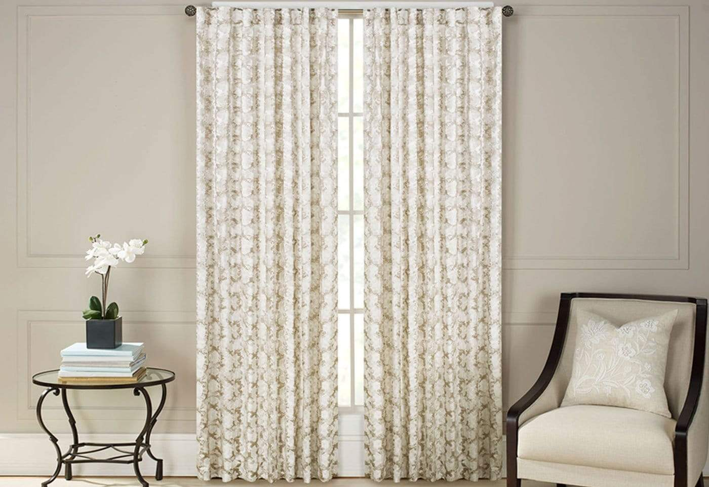 Addiction Jacquard Print Room Darkening Drapery Panel Pair - 54 x 108 / Natural