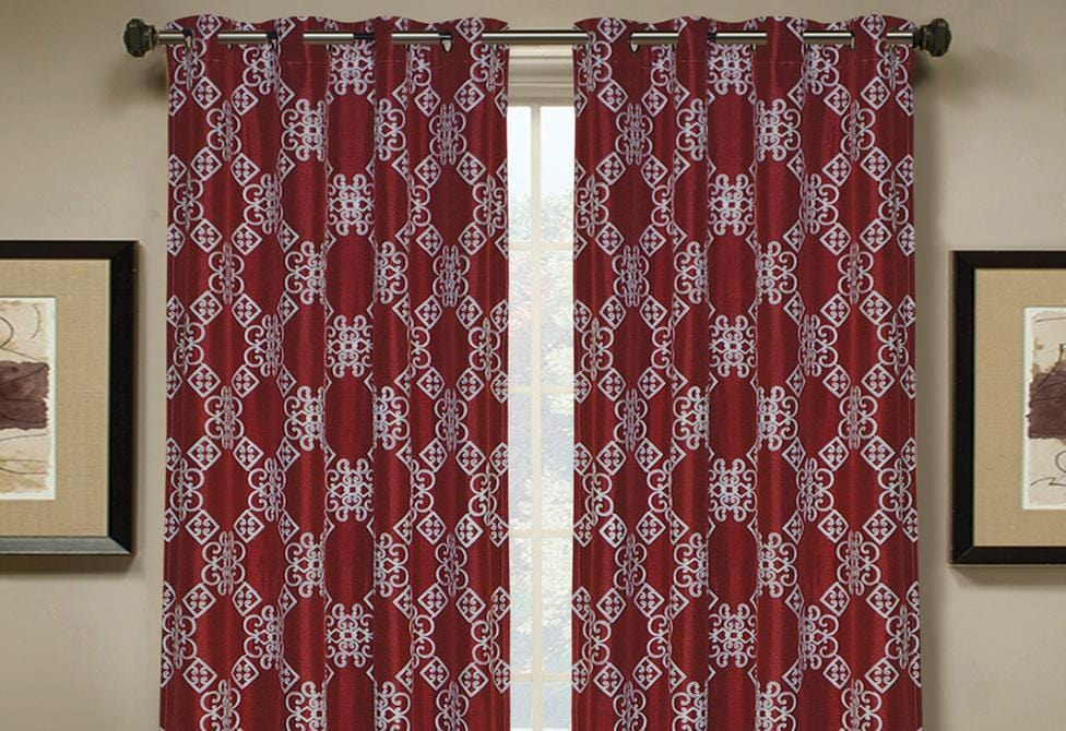 Aiden Embroidered Pattern Window Curtain Panel - 54 x 84 / Red