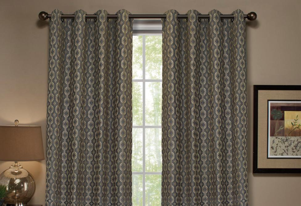 Anello Pattern Stripe Window Curtain Panel - 54 x 63 / Gray