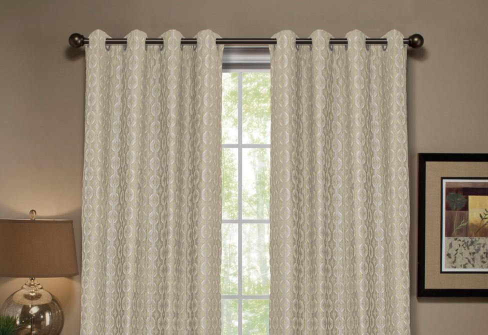 Anello Pattern Stripe Window Curtain Panel - 54 x 95 / Ivory