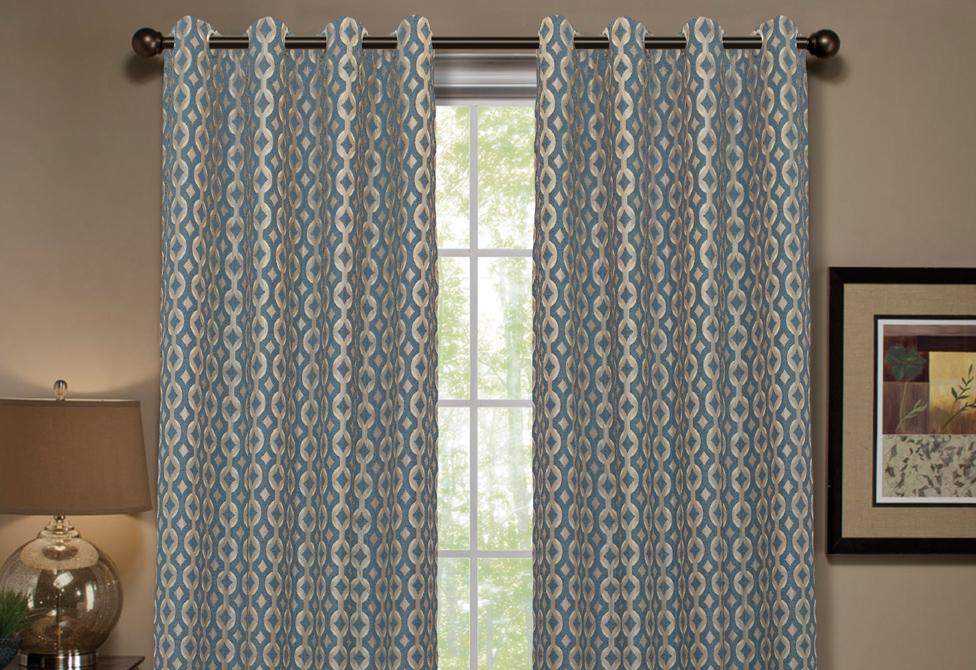 Anello Pattern Stripe Window Curtain Panel - 54 x 84 / Sky Blue